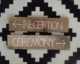 Package of Two Rustic Timber Wedding Signs CEREMONY & RECEPTION