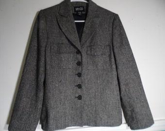 New York and Company   Size 8 Tweed Black & White Blazer Jacket Wool Blend