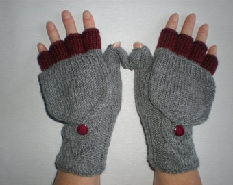 Handknitted grey with burgundy color accent  women convertible fingerless gloves with buttons/ hand knitted convertible gloves