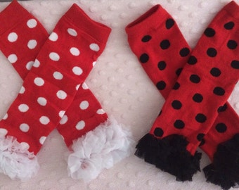 Minnie Mouse Inspired Costume Leggings, Red and Black Polka dot Leggings, Red and White Polka Dot Leggings