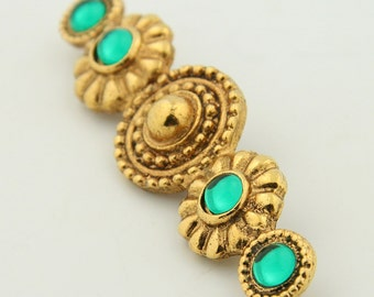 Vintage green brooch, Vintage green pin, Gold brooch, Gold bar pin, Vintage bohemian brooch, Bohemian pin