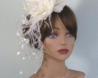 Wedding Over Size Headpiece  Fascinator  Wedding Hair Clip  Wedding Accessory Over Size Ivory Flower