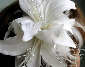 Lily Wedding Flower Hair Clip Fascinator Wedding Accessory Bridal Hair Clip