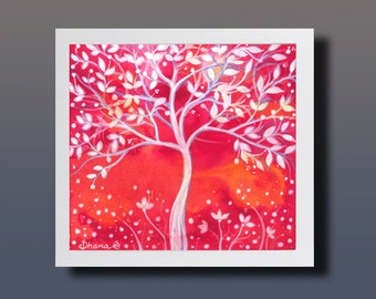 Abstract Red Wall Decor, White tree Painting, Red Landscape Painting, Fantasy Art Living Room Decor, Vibrant color Print, Nursery wall art
