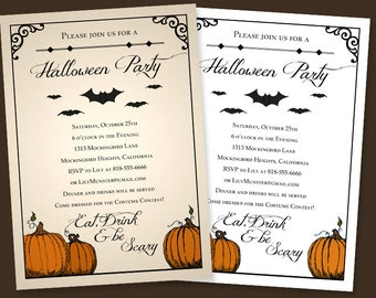 "Custom Halloween Party Invitation || Digital Download Printable File || 5""x7"" || Pumpkins, Bats Eat Drink and Be Scary || Black White Orange"