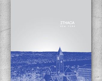 Office Art Poster / Ithaca New York Skyline / Home Office Decor / Any city or Location