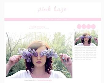 Blogger Template- Pink Haze : Instant Download