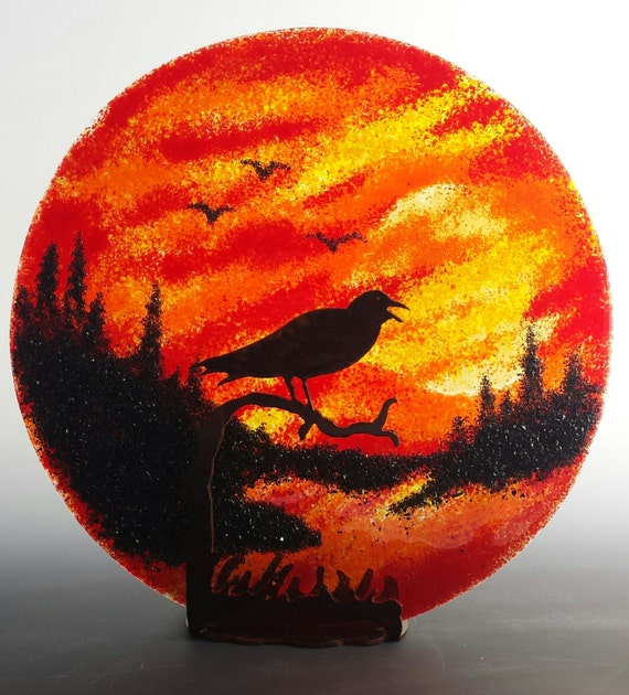 Crow on a Branch Table Top Fused Glass Suncatcher