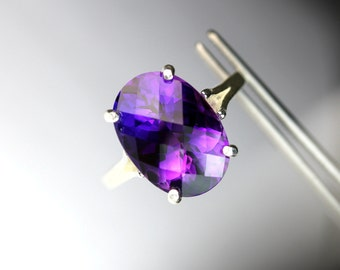 Magnificent Genuine Brazilian Amethyst Checkerboard Oval in Sterling Silver Ring