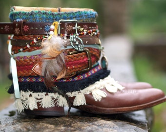 Upcycled CUSTOM REWORKED vintage colorful boho Cowboy BOOTS - custom boho boots - festival boots - gypsy boots