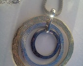 Shimmering Circle Necklace with 3 color pendant