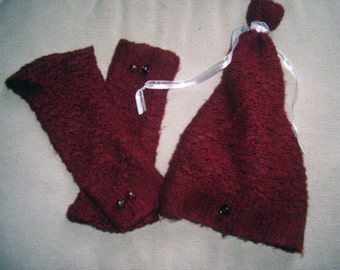 Upcycled, Recycled, Repurposed, Refashioned Toddler Slouch Hat and Arm Warmers/Fingerless Gloves