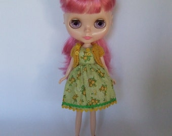 Hand Made Neo Blythe or Bratz doll Doll Green Vintage Floral Print Dress with Ric Rac Trim and Matching Mustard Knitted Short Sleeve Cardy