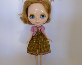 """Hand Made Blythe 12"""" Doll Vintage Olive Pink Print Dress with Ric Rac Trim and Matching Pink Knitted Short Sleeve Cardy"""