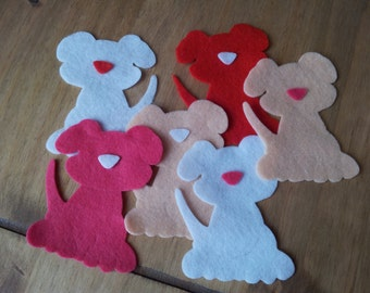 6 Felt die cut doggies, Sizzix appliqué crafting sewing toppers