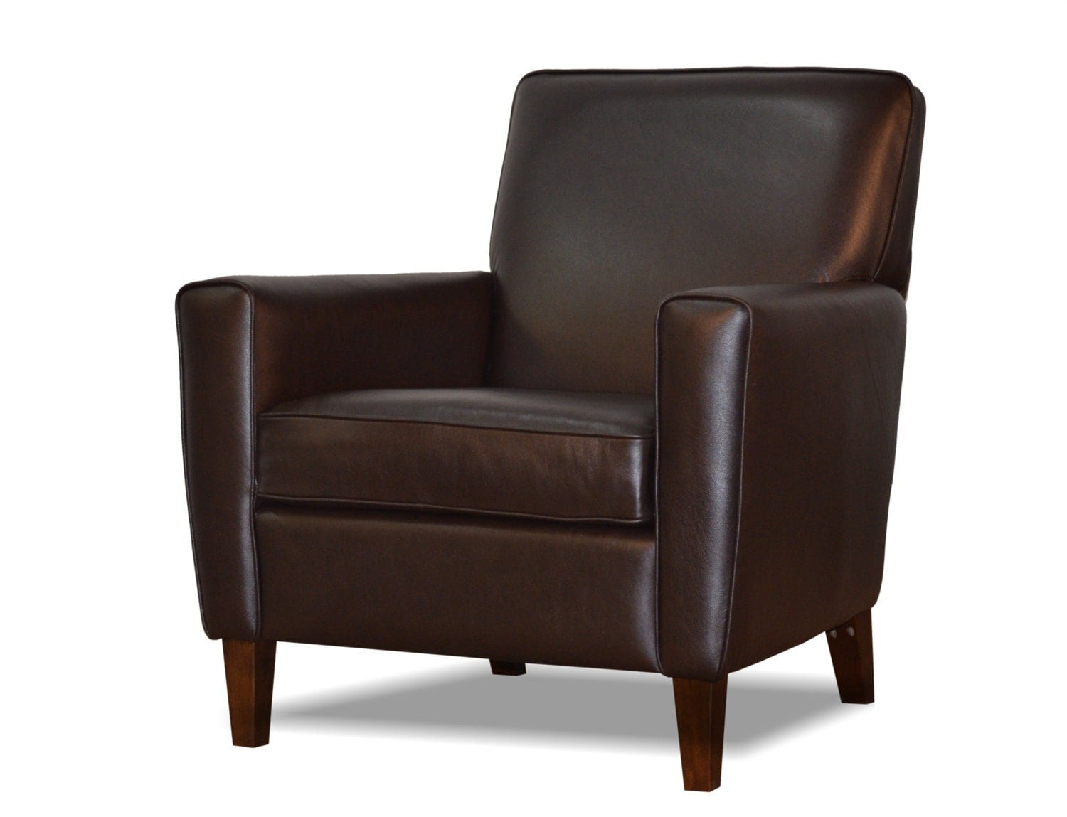 Leather Accent Chair With Ottoman Genuine Espresso Brown Leather Accent Chair Ottoman Club Chair