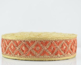 Lace Trim, Embroidered Lace Trim, Border, Indian Style, Floral, Jacquard, Geometric, Cream, Orange, Gold Thread - 1 meter
