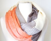 Rust and Gray Color Block Infinity Scarf - Boho Chick - Chunky lightweight Trending Items Gift Ideas for Her