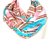 ANTIQUE CHEVRON infinity SCARF - Rose and Turquoise color chevron Circle Scarf - Chunky lightweight mint scarf - Valentine's Gift for Her
