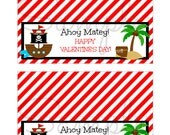 Instant Download Valentine's Day Pirate Ahoy Goodie Treat Bag Topper  PRINTABLE Download - Fun Family Party diy