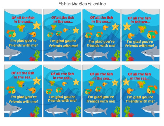 Instant download fish in the sea valentines day cards school for All the fish in the sea