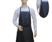 Leather Apron With Metal Stud Work Custom Made to Order in Real Leather BAP009