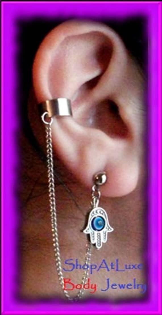 Hamsa Hand With Blue Evil Eye of Fatima - Ear Cuff And Chain Earring