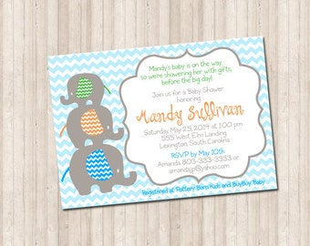 Custom Chevron Stacked Elephant Baby Shower Invitation