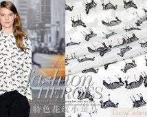 Black Zebra Printed White Silk Crepe de Chine Fabric, Designer Animal Print Silk Fabric By The Yard, 1 m-SC0229
