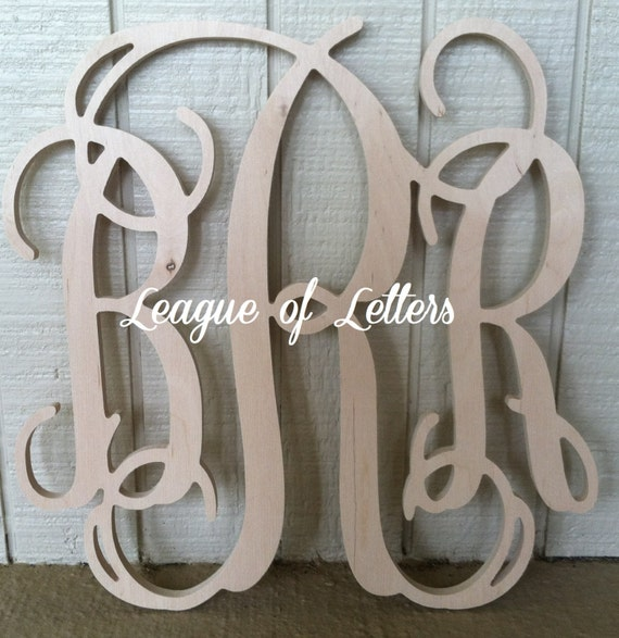 24 inch Wooden Monogram Letters by LeagueofLetters on Etsy