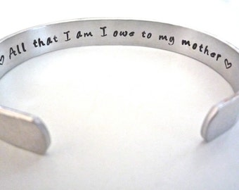 Mother of the Bride, Personalized Aluminum Bracelet, Custom Hand Stamped by TheSilverSwing