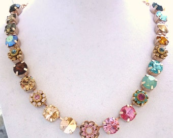 """Swarovski crystal choker on rose gold, 11mm """"Mon Amour"""", multi colored by Siggy"""