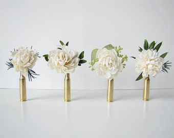 Dahlia Bullet Casing Boutonniere - Bullet Shell Boutonniere