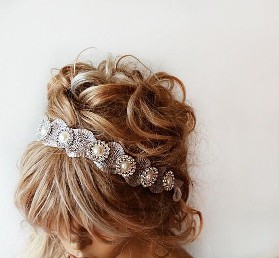 Wedding Hair With Rhinestone Headband : Bridal hair accessories rhinestone and pearl headband