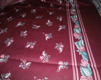 Maroon Floral Print Fabric - 2 yards 5 inches
