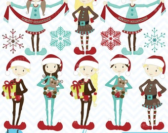 80% 0FF SALE christmas elves clipart commercial use, vector graphics, digital clip art, digital images - CL418