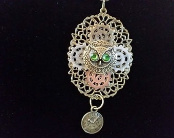 Steampunk Owl, Gear and Clock Necklace