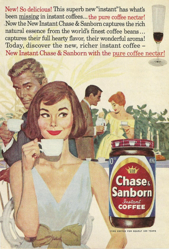 Chase & Sanborn Instant Coffee Original 1961 Vintage Print Ad w/ Color Illustration Young Couples Enjoying Cups of Coffee at a Garden Party