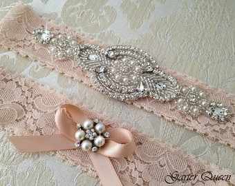 Blush Wedding Garter Set, Lace Bridal garter Set, Rhinestone Garter, Lace Wedding Garter Set