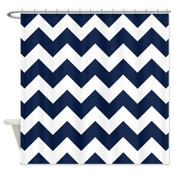 Chevron Shower Curtain Navy Blue White Zig Zag Stripes OR