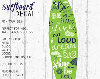 Surfboard Decal, Surfboard Decor, Wall Surfboard, Vinyl Surfboard, Lime & Navy Surfboard Art by Jennifer McCully