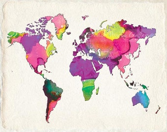 World Map Modern World Map Turquoise Brown Blue Brown Wall