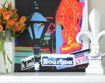 New Orleans Canvas Art Print of Historic Bourbon Street Signs
