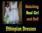 Ethiopian Formal Matching Real Girl and Doll Dresses! (Set H6)