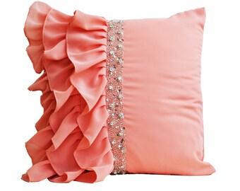 Peach ruffled throw pillow cover - Ruffle pillow - Decorative Pillow - Peach cushion cover - Gift pillow - Sequin pillow -Ruffle cushion