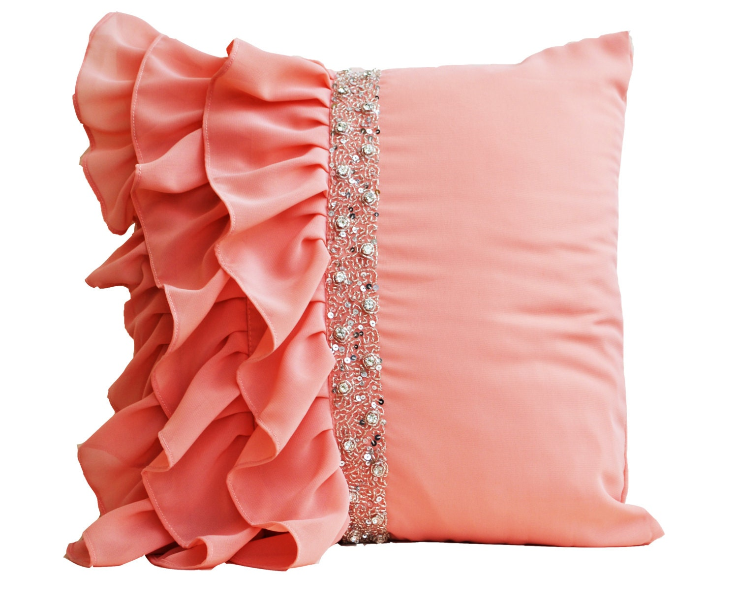 Peach ruffled throw pillow cover Ruffle pillow Decorative