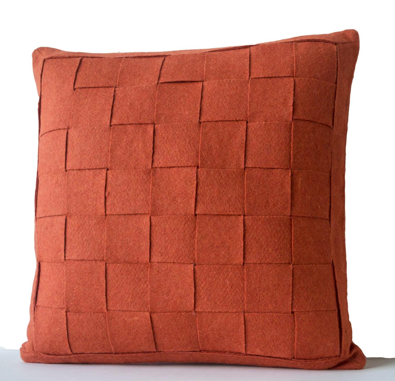 Modern Felt Pillows : Orange Pillow Felt Weave Pillows Throw Pillow Decorative