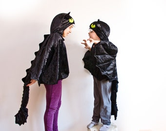 Black Dragon Children Costume, Party Costume or Halloween Kid Costume Wings, how to train your dragon Toothless
