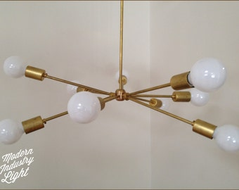 "Modern brass ""Atomic"" chandelier - 9 Bulb - Number 2 MADE IN LA"