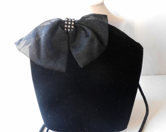 Black Evening Bag Vintage Black Velvet Evening Bag Glamorous EB-0247